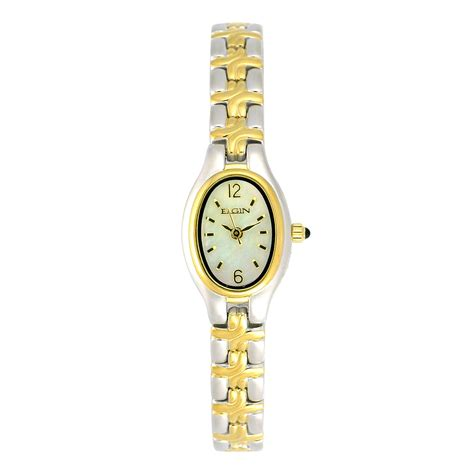 elgin oval two tone jewelry watches
