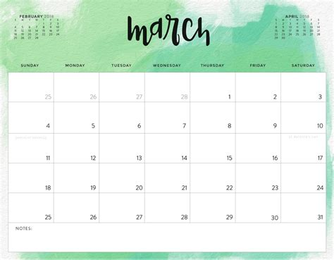 printable march 2018 calendar templates color pattern 2018 printable calendar calendar 2018