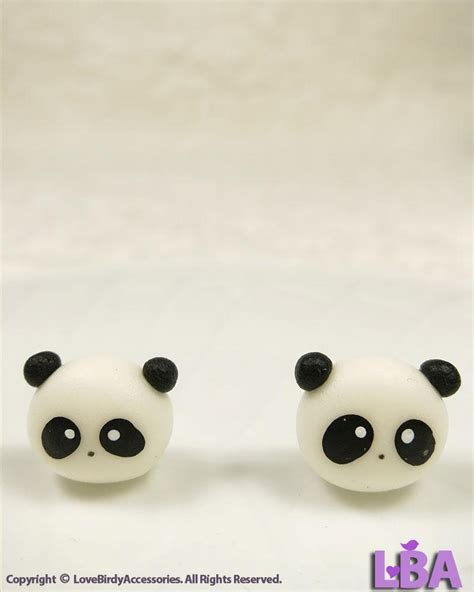 Handmade Studs - handmade animal new panda earrings stud polymer
