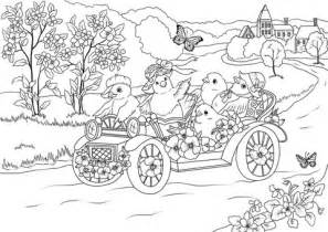 coloring pages for village easter chickens in the retro car are leaving the village