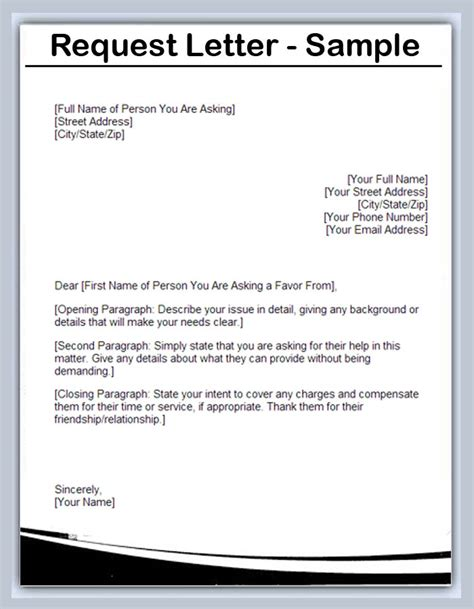 Request Letter Format For Connection Writing A Letter Of Request