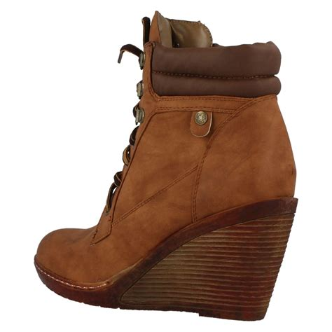 spot on lace up ankle boots with high wedge heel ebay