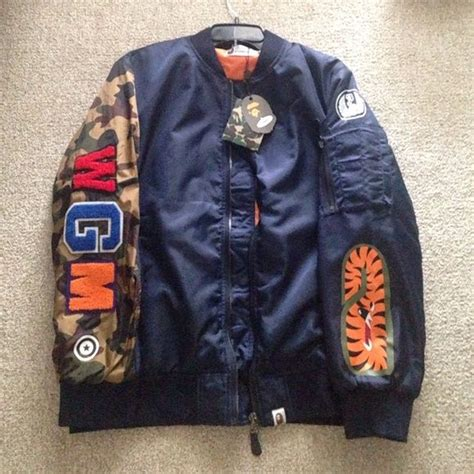 Jaket Bomber Jaket Bape Stussy Putih authentic bape bomber jacket it s a xl but fits more as a large never worn and new with tags