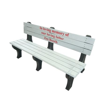 personalized park benches 6 ft recycled plastic custom memorial logo bench with back deluxe style portable