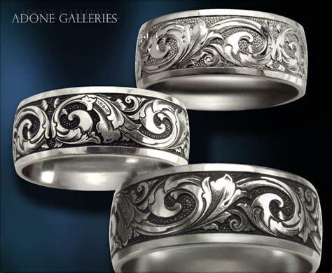 adone galleries platinum wedding band engraved