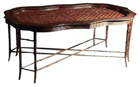 used maitland smith rattan faux bamboo coffee table