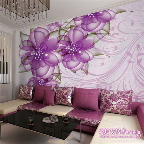 purple wallpaper for bedroom walls purple living room wall murals mural living room sofa