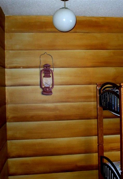 Faux Log Cabin Walls by Faux Painted Log Cabin Walls