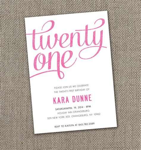 21st invitation templates twenty birthday invitation digital file by