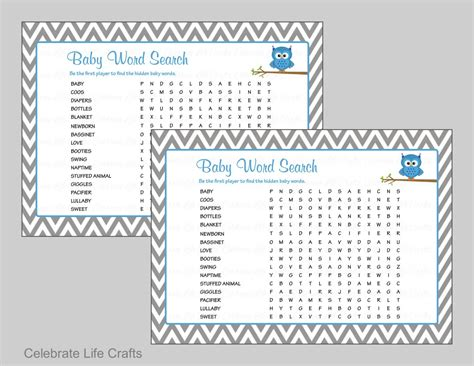 Baby Shower With by Baby Word Search Baby Shower With Answer Key Printable
