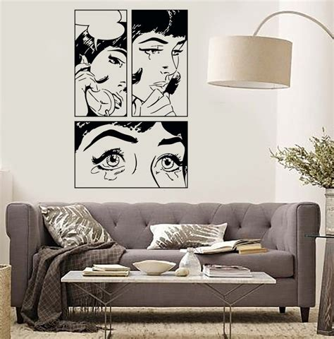 adult bedroom wall stickers cartoon girl vinyl wall stickers sexy girl woman teen crying cool pop art bedroom wall