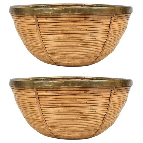 large wicker bowl chair pair of large decorative mid century brass and rattan