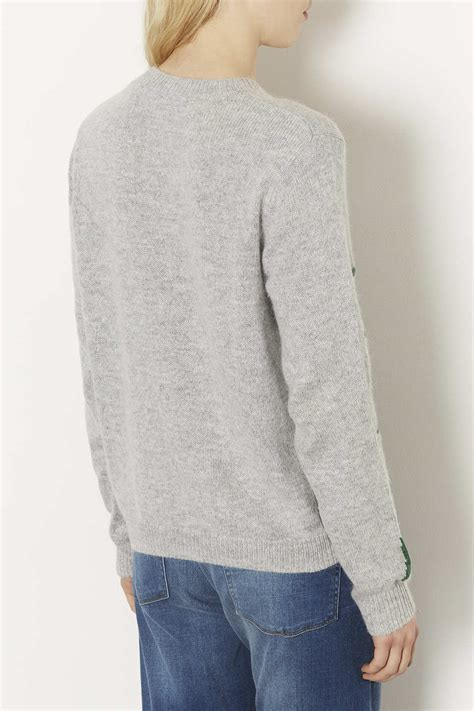 lyst topshop knitted holly jumper  gray