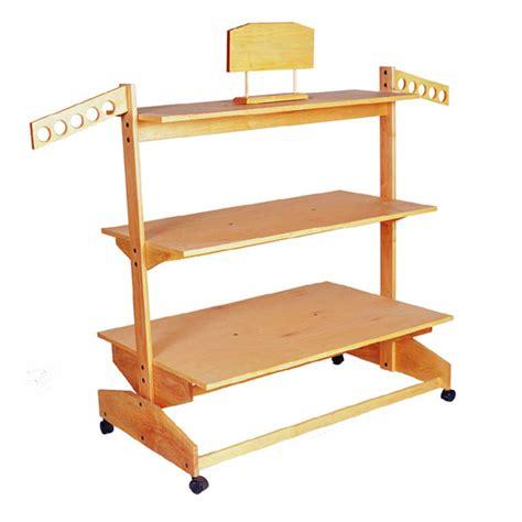 three tier wooden shelf rack trio display