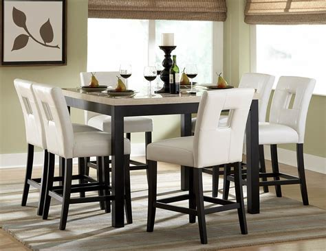 Elegant Dining Room Design With 7 Pieces White Faux Marble Dining Room Set High Tables