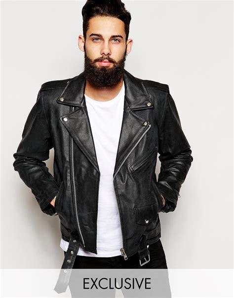 Jaket Bomber Scrimmers Brown Wood reclaimed vintage leather biker jacket at asos