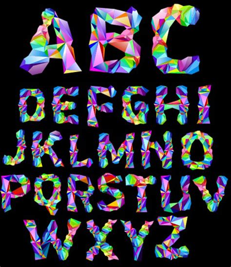 colorful fonts alphabet colorful geometric shapes fonts vector free