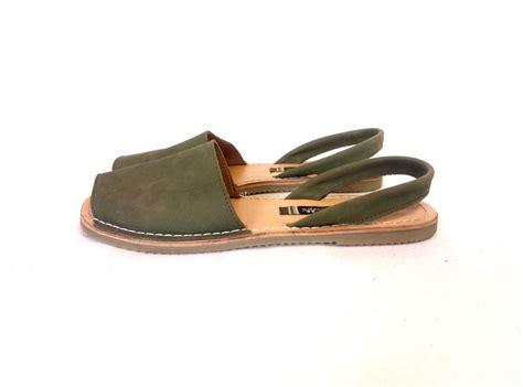 peep toe sandals flat moss green nubuck leather peep toe slingback flat sandals