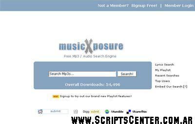 entrada nulled musicxposure clone mp3 search script