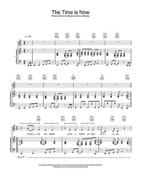 The Time Is Now sheet music by Moloko (Piano, Vocal