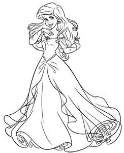 The Walt Disney Studios Production Company Cute Kawaii Disney Princess Ariel In A Dress Coloring Pages Printable
