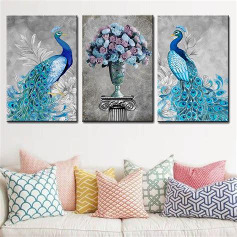panels pop animals canvas wall art peacock flower
