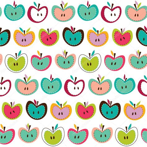 cute pattern clipart cute apple seamless pattern stock vector 169 lilalove