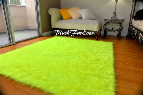 New Neon Yellow Shaggy Premium Sheepskin Faux Fur Throw Neon Area Rug