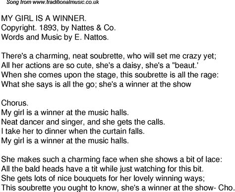 the curtain falls lyrics old time song lyrics for 60 my girl is a winner
