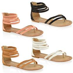 womens summer shoes womens fashion flat toe post zip summer gladiator