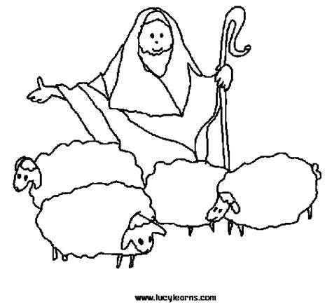 coloring page of sheep and shepherds sheep shepherd clipart 39