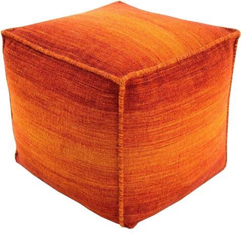 Contemporary Chaz Pouf Ottoman Contemporary Footstools Orange Pouf Ottoman