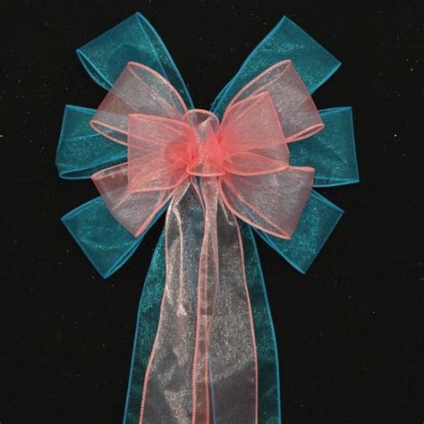 turquoise coral sheer wedding pew bows  package