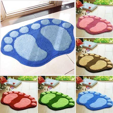 bathtub colors available 1pcs lovely bath mat foot shape plush rug non slip floor bathroom mat 5 colors