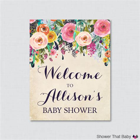 welcome signs for baby shower floral baby shower welcome sign printable personalized shower