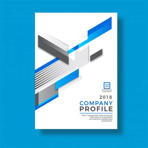 intellect design company profile blue modern geometry design company profile design vector