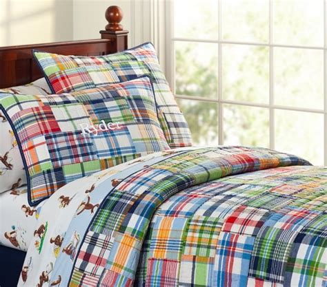 plaid boys bedding madras quilted bedding traditional kids bedding by