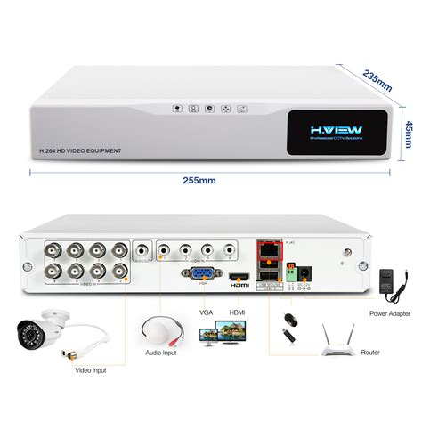 8ch hd home security system 1tb hdd h view 8