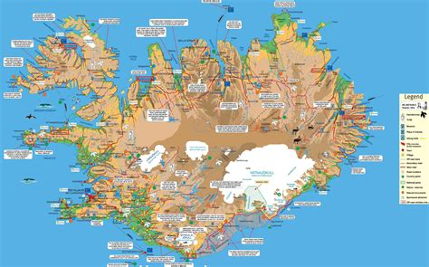 large map large detailed tourist map of iceland iceand large