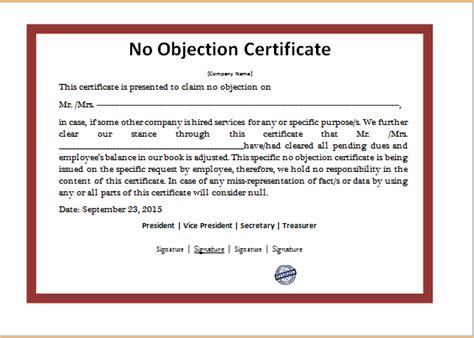 ms word no objection certificate template word excel
