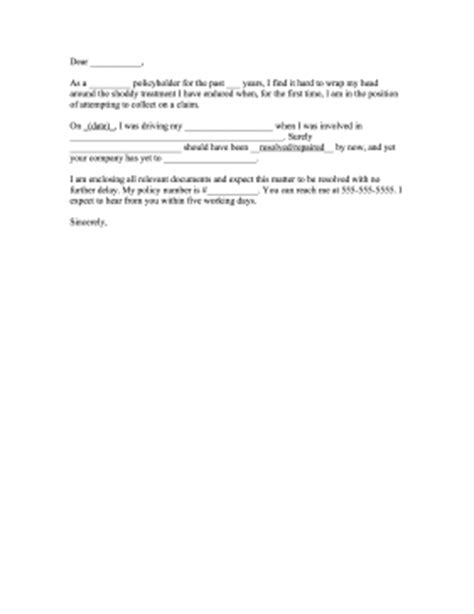 Exle Of Complaint Letter To Insurance Company Car Insurance Complaint Letter