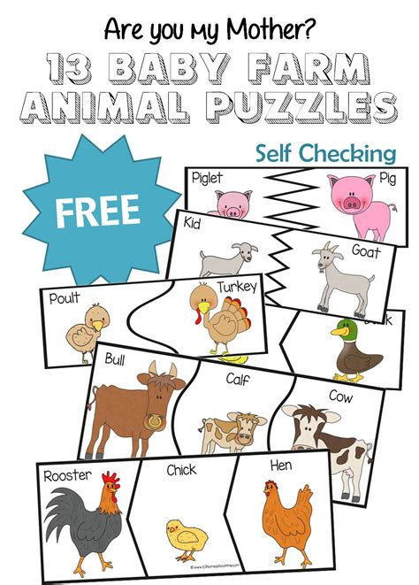 printable animal puzzles are you my mother 13 baby farm animal puzzles