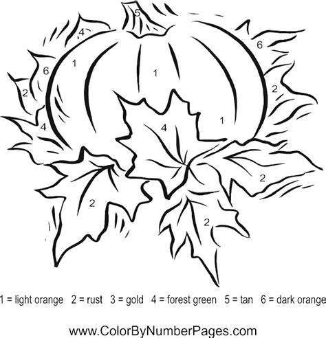 fall coloring pages color by number fall color by number pages