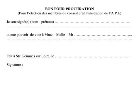 Exemple De Lettre De Procuration Pour Succession Modele Une Procuration Document
