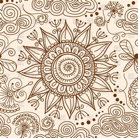 henna tattoo background seamless henna mehndi doodle with sun vector