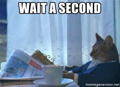 Wait A Second Meme - wait a second newspaper cat realization meme generator