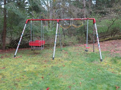 refurbished swing sets multi age multi seater metal swing set for sale outside