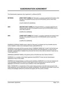 Offset Agreement Template subordination agreement template amp sample form biztree com