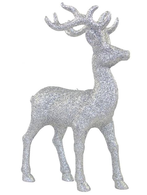 silver standing reindeer ornament 22cm ornaments the