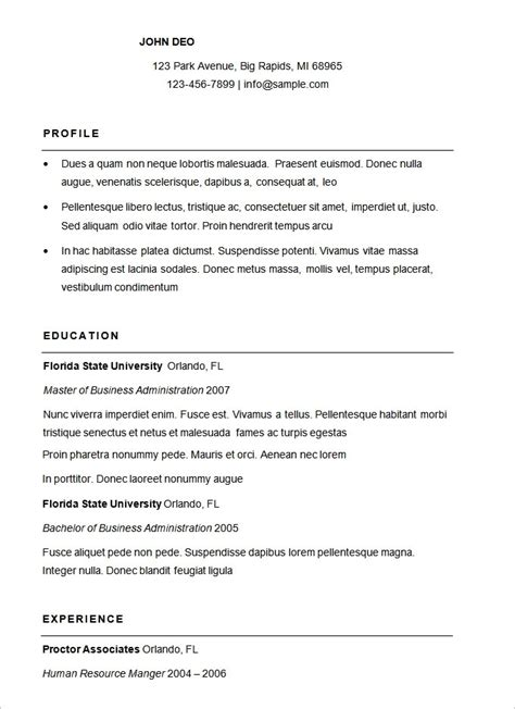 Curriculum Vitae Sle Format Word by 17007 Free Basic Resume Template Basic Resume Template